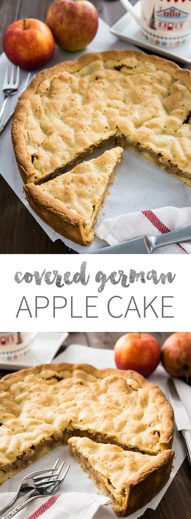 This covered Apple Cake is filled with cinnamon-seasoned apple chunks and topped with a vanilla shortbread crust. You can get this cake in every German bakery!