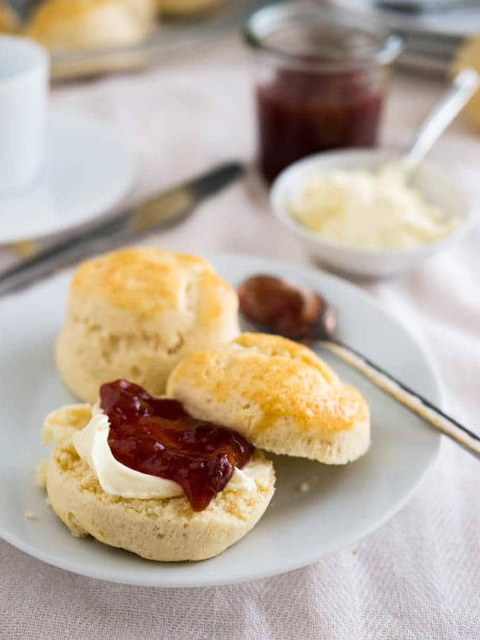 Easy English Scones Recipe with Jam & Clotted Cream