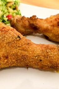 Juicy AirFryer Chicken Drumsticks - made with only 1/3 cup butter but full of flavor and really easy to make. They're tender and juicy inside and crispy on the outside.