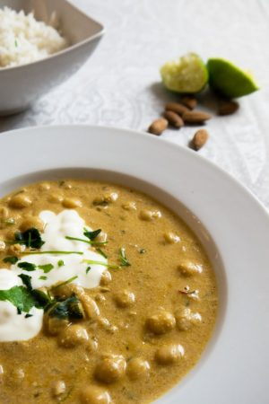 Coconut Chickpea Curry with Lime Rice - An easy and flavorful recipe which is ready in 15 min