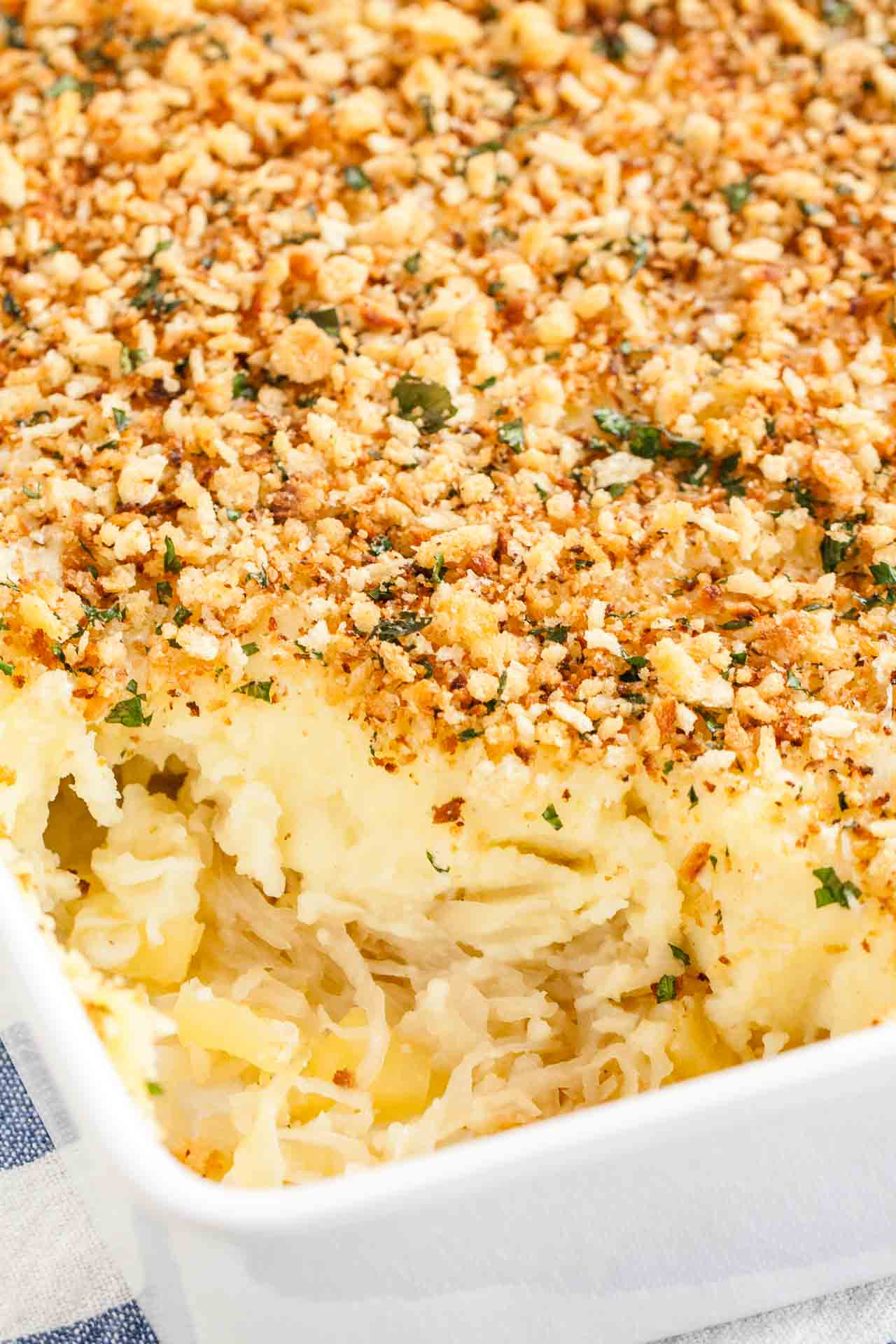 Sauerkraut Mashed Potato Casserole is a warm and hearty dish made with sauerkraut, apples and creamy homemade mashed potatoes. It's a delicious comfort food side that you can make ahead and that's always a hit!