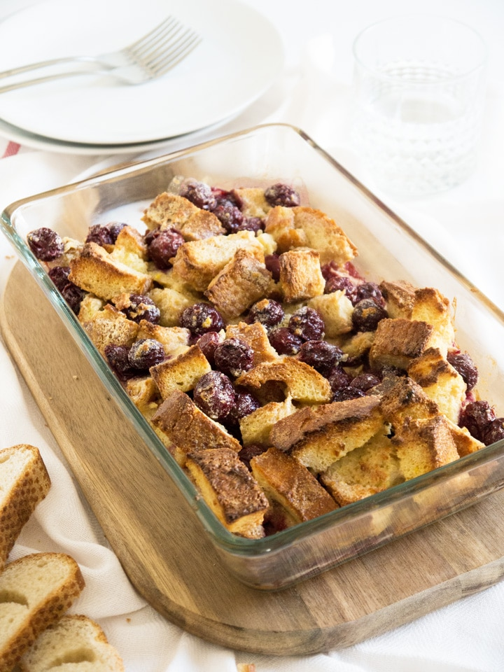 "There is no better word than ""extra delicious"" to describe this Cherry French Toast Casserole. Perfect recipe to use leftover bread!"