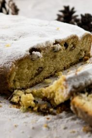 Delicious German Stollen - filled with nuts and dried fruits.