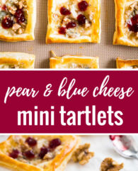 Pear & Gorgonzola Mini Tartlets - a quick and easy appetizer for your next party with sweet pears and creamy blue cheese! Ready in under 30 minutes.