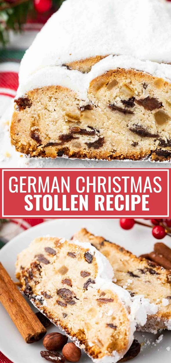 German Stollen is loaded with rum raisins, candied fruit, and nuts. This traditional German Christmas recipe is a very special treat that has a long history and is very popular during the Holidays. It needs a bit of time to develop its flavor but is totally worth the effort and tastes great with a cup of coffee! #GermanChristmasBaking #StollenRecipe