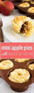 Mini Apple Pies with Dulce de Leche - you only need 4 ingredients to make these perfect bites! The gooey, flavorful filling makes these toffee apple pies a family favorite.