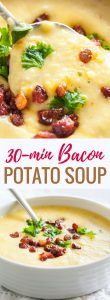 This easy Potato Bacon Soup is ready in less than 30 minutes and loaded with crispy bacon, sweet corn, and filling potatoes. A thick and creamy fall soup that makes a perfect comfort food forcold days!