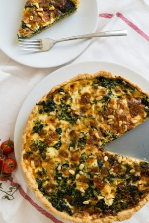 My Spinach Quiche with Cheese and Pine Nuts is easy to make and perfect for brunch and parties! It also makes a perfect dinner.