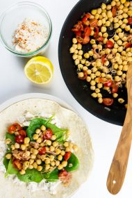 Healthy Veggie Feta Chickpea Tortilla Wraps - makes the perfect midweek meal. Ready in 15 minutes!