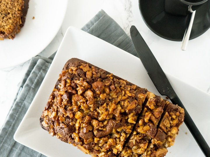 Banana Bread with Maple Walnut Topping | Plated Cravings