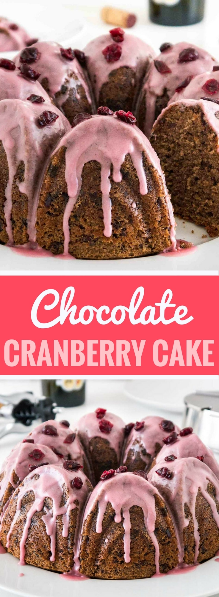 Chocolate Cranberry Cake is so moist, tender, and studded with chocolate and cranberries! A perfect cake for the holiday season that is super flavorful because of a secret ingredient. You have to give it a try!
