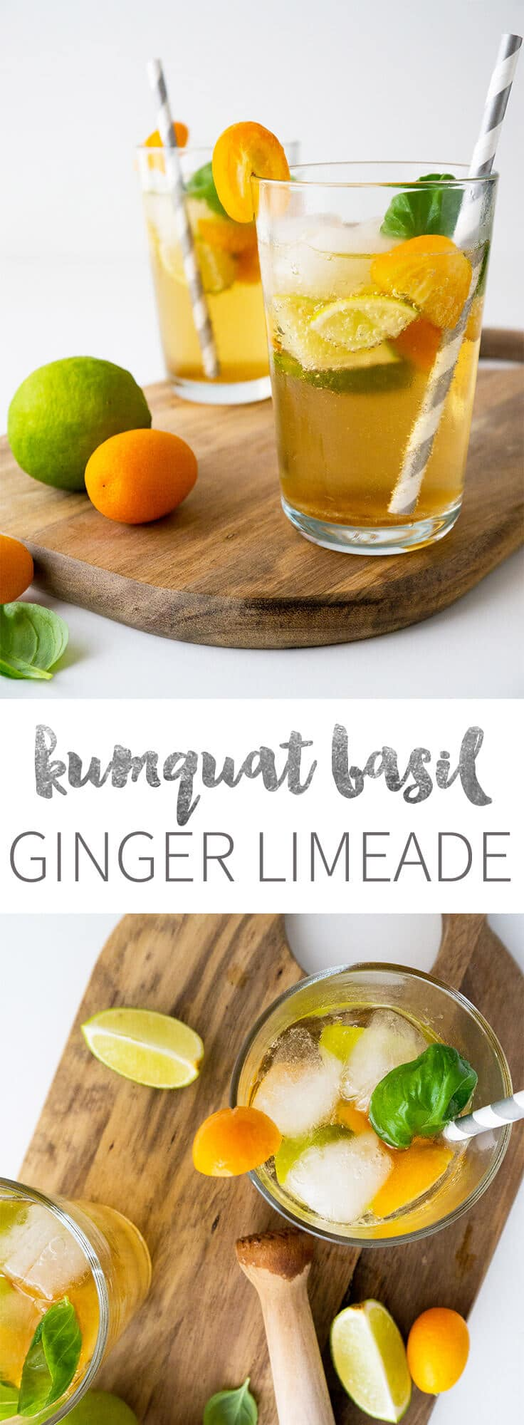 This tasty refreshing Kumquat Basil Ginger Limeade is perfect when you ...