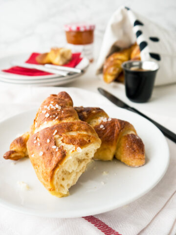 Easy homemade Pretzel Croissants with yeast dough and store-bought puff pastry. They combine the flakiness of a butter croissant with the texture of a pretzel.