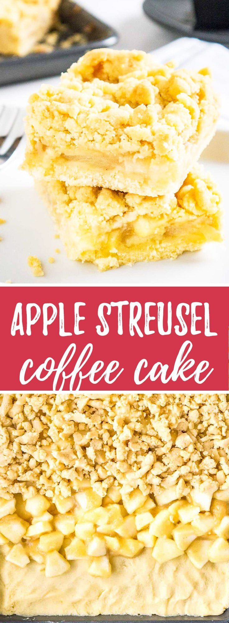 Apple Streusel Sheet Cake is so easy to make from scratch and tastes amazing! A simple but so flavorful German apple cake that's topped with the most delicious cookie-like streusel.