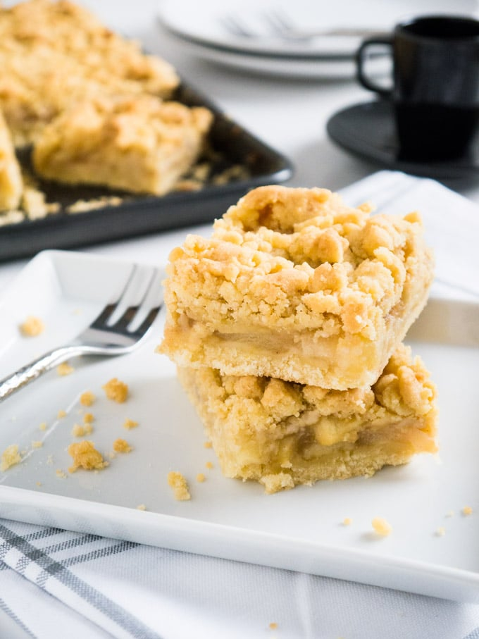 The best Apple Streusel Sheet Cake - made with fresh apple chunks and apple sauce for an extra moist filling!