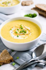 This Curried Cream of Corn Soup is creamy, a little bit spicy, and full of flavor! It makes a great weeknight meal - 15 minutes and you have a delicious meal. Serve with baguette or pita bread!