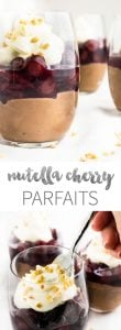 These No Bake Nutella Cheesecake Cherry Parfaits are super indulgent! And they come in a glass.