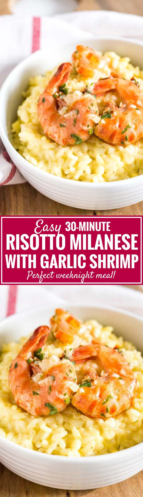 Saffron Shrimp Risotto is really easy to make, super creamy, and ready in only 30 minutes! A variation of the famous Risotto Milanese made with garlic shrimp that is quick enough to prepare for weeknight dinners but special enough for date night. #RisottoRecipes #RisottoMilanese #ShrimpRisotto #WeeknightDinners #30MinuteMeals