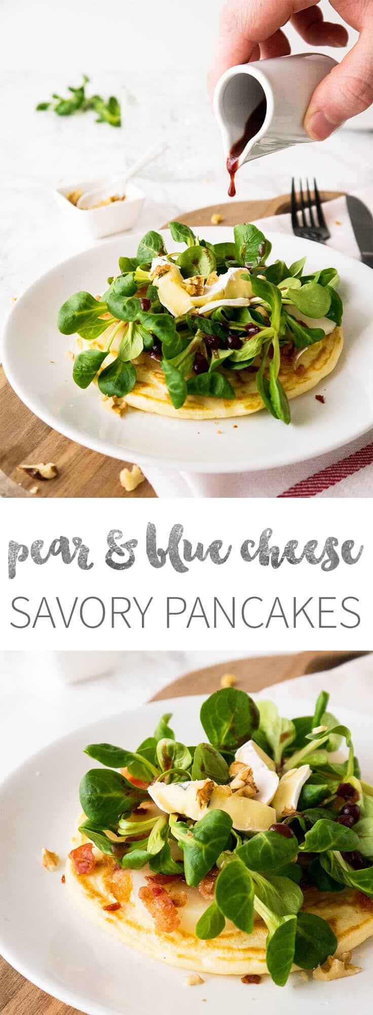 Savory Pancakes with pear and blue cheese are perfect for brunch!