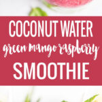 This vegan Coconut Water Smoothie is packed with raspberries, baby spinach, chia, and mango! Loaded with fruits, veggies, and coconut water, this drink is healthy and delicious!