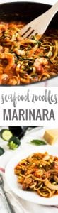 Seafood Zucchini Marinara makes a great quick and easy weeknight dinner! Replacing normal pasta with zucchini noodles (zoodles) is a great way to eat healthier.