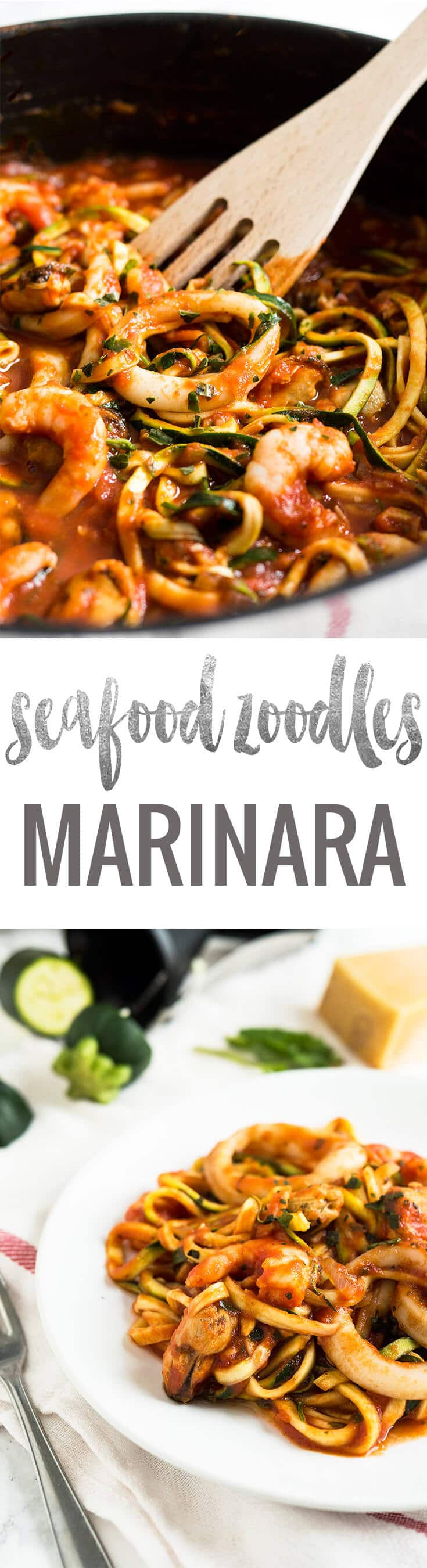 Seafood Zucchini Marinara makes a great quick and easy weeknight dinner! Replacing normal pasta with zoodles is a great way to eat healthier.