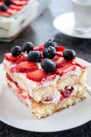 Strawberry Tiramisu is the perfect no-bake summer dessert made with fresh strawberries, ladyfingers, and mascarpone!