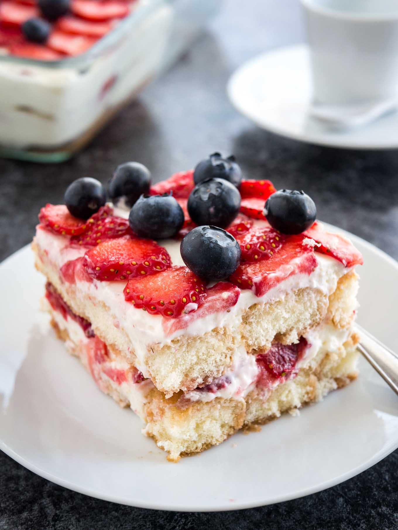 Strawberry Tiramisu is the perfect no-bake summer dessert made with fresh strawberries, ladyfingers, and mascarpone!