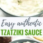 Tzatziki Sauce Recipe - this greek yogurt cucumber dip tastes great with grilled meat or fish! You never want to buy Tzatziki at the store again after trying my easy authentic tzatziki recipe.