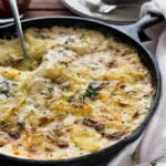Gorgonzola Potatoes au Gratin Recipe is the only potato bake recipe you'll ever need! This easy, creamy Gratin au Dauphinoise recipe is full of cheese and makes a great comfort food which is perfect to feed a crowd.