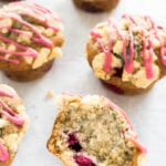 These Raspberry Muffins with Streusel Topping are buttery, fruity, and have sweet crumbs on top! They make a great breakfast treat and keep moist and fresh for days.