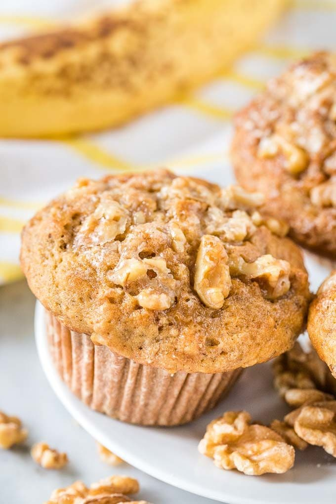 Banana Muffins with Walnut Topping