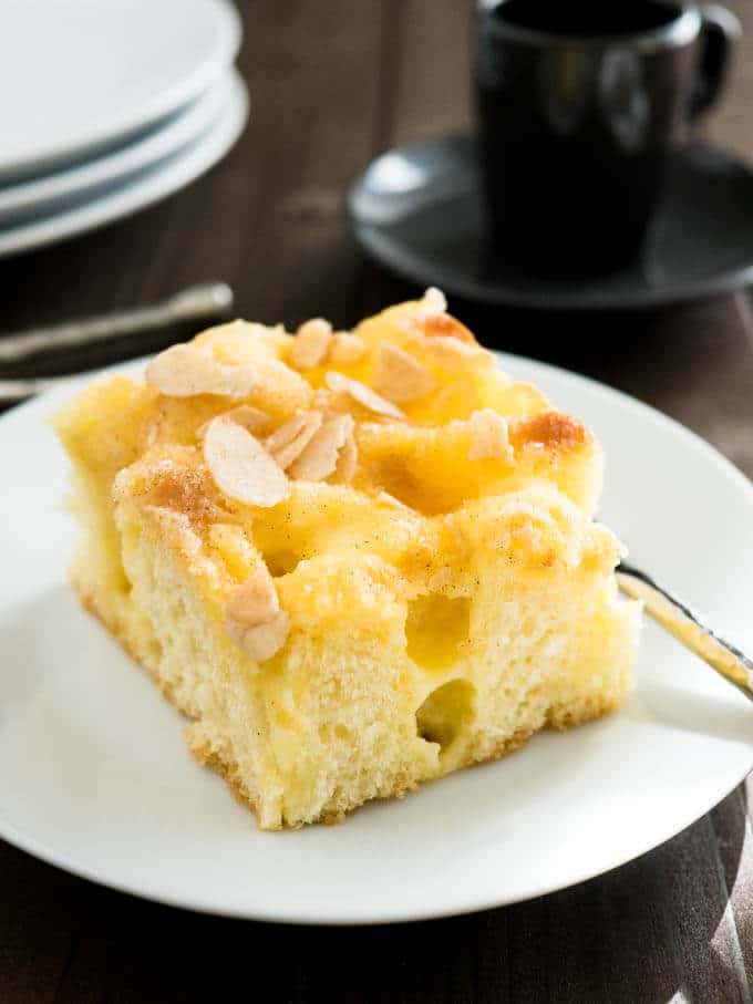 Vanilla Pastry Cream Almond Cake Recipe Plated Cravings