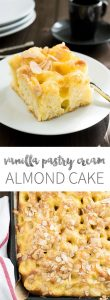 This Vanilla Pastry Cream Almond Cake is filled with homemade vanilla pastry cream, sprinkled with almonds and cinnamon sugar, and baked on a sheet. A perfect cake to bring to a party and so easy to make!