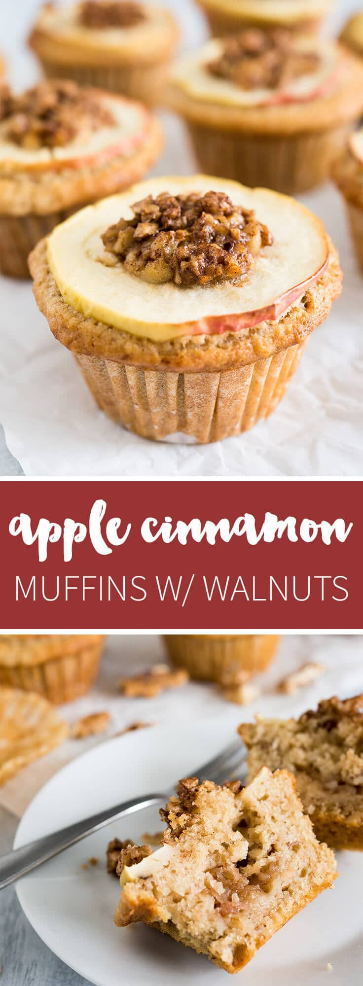 Apple Cinnamon Muffins are made with brown butter and topped with caramelized walnuts! They have a secret filling which makes them extra moist and delicious.