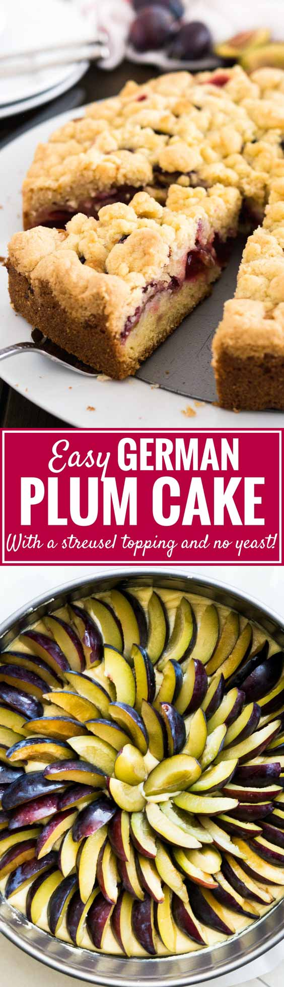 Plum Cake is a delicious coffee cake made with a simple batter, freshplums, and a cookie-like nut-free streusel topping! This traditional German plum crumb cake is so easy to make from scratch and can also be baked on a sheet if you need to feed a crowd. #plumcake #germanplumcake #plumcrumbcake #coffeecake #baking #cake