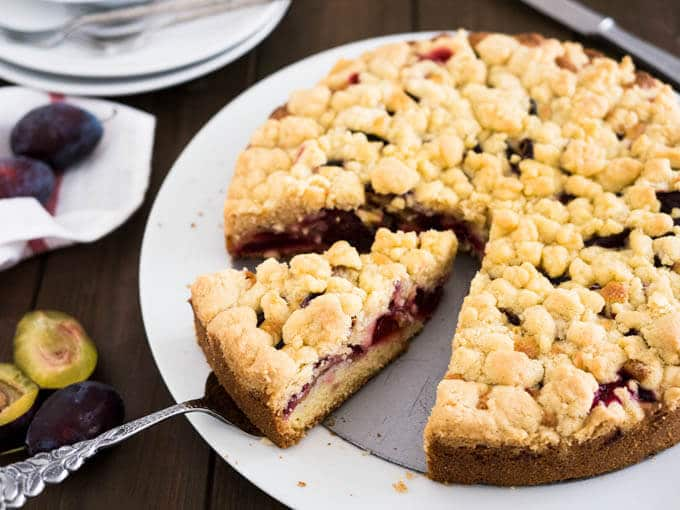 Plum Cake with Streusel - a delicious coffee cake which is easy to make! This streusel-topped cake is super versatile, just switch out the plums for apples or peaches.