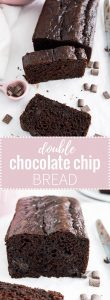 Double Chocolate Chip Bread - a rich chocolatey quick bread that every chocolate lover will love! It's moist and has a deep chocolate flavor. Perfect for dessert AND breakfast!