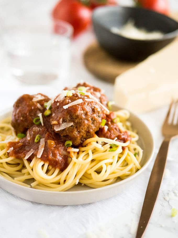 Easy Crockpot Italian Meatballs smothered in a homemade marinara sauce made with Italian herbs and balsamic vinegar. This recipe comes together in minutes and will have everybody begging for seconds!