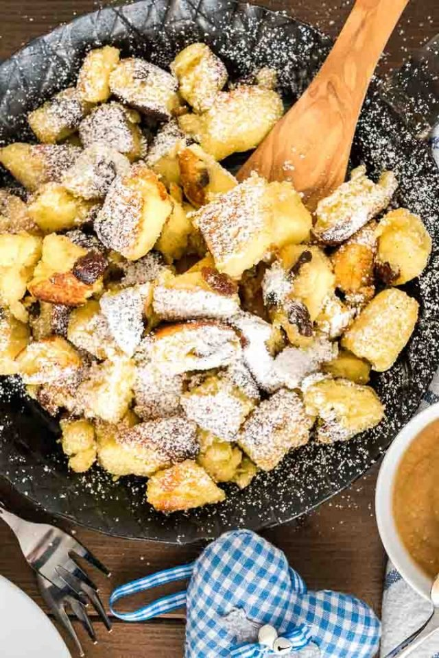 Kaiserschmarrn sprinkled with powdered sugar