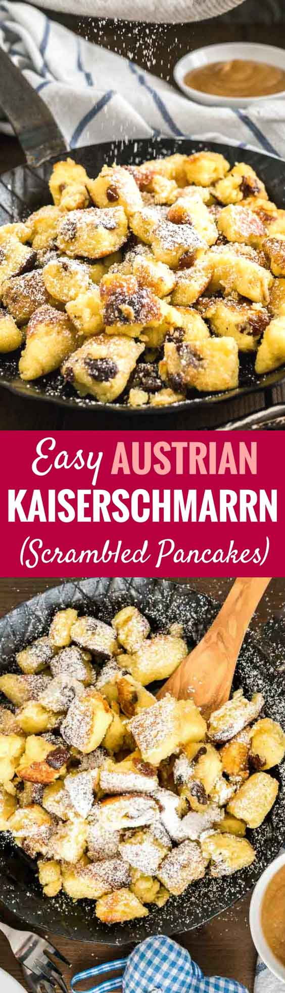 Kaiserschmarrn (Scrambled Pancakes) is an Austrian dessert that's also very popular in Bavaria! A sweet fluffy pancake made with rum-soaked raisins is torn into bite-sized pieces, caramelized, and served sprinkled with powdered sugar, applesauce, and preserves. This easy dessert recipe also tastes great for brunch and is loved by kids and adults alike! #Pancakes #DessertRecipes #Kaiserschmarrn #GermanRecipes #ComfortFood