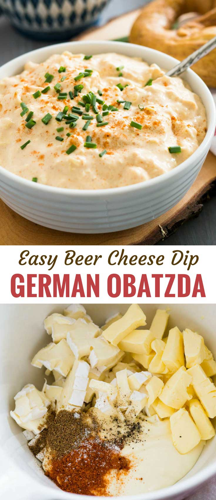 Obatzda, a flavorful German Beer Cheese Dip, is a beer garden classic made with camembert cheese, butter, and beer! This easy cheese dip can be made ahead and makes a delicious appetizer or snack with pretzels or rustic bread. Perfect for your next Oktoberfest party!