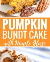 """This Pumpkin Bundt Cake is super moist and topped with a maple glaze and toasted pecans! A perfect dessert for the holidays that """"wow's"""" and is easy enough to make even if you aren't totally kitchen confident."""
