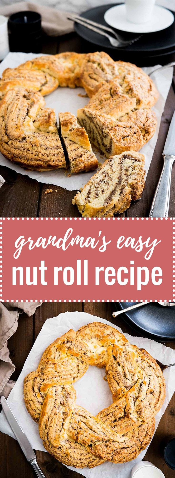 This easy Nut Roll recipe is my husband's grandma's which she makes at every special occasion! It's made without yeast and filled with ground hazelnuts. A perfect Holiday breakfast or dessert!