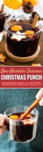 This German Christmas Punch (Kinderpunsch) is the perfect beverage to serve at your winter celebrations! Hot mulled grape juice is flavored with Christmas spices making it the perfect non-alcoholic beverage for the holidays that everyone can enjoy.