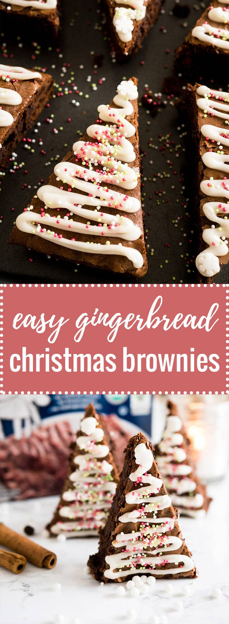 These Gingerbread Christmas Brownies take just minutes to put together! Add a seasonal spin to classic fudgy brownies with an easy semi-from-scratch recipe for Christmas Tree Brownies.