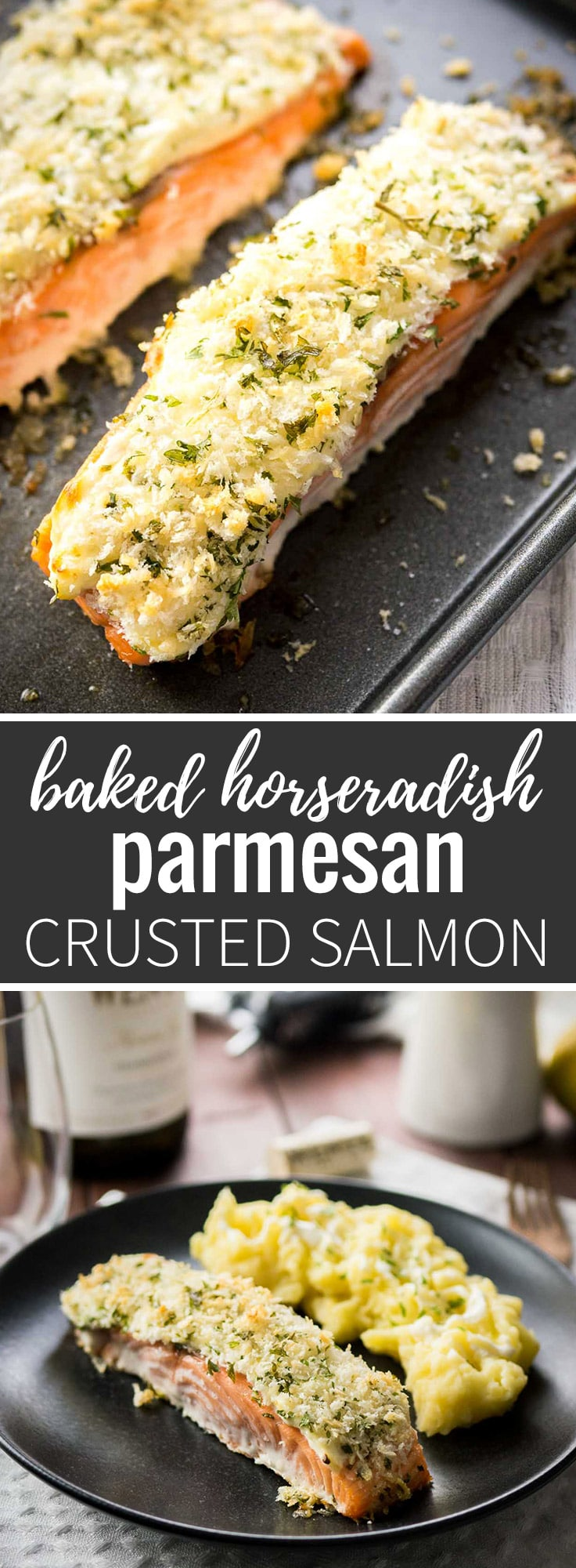 This Horseradish Parmesan Crusted Salmon is baked in the oven and only takes 20 minutes to make. A dinner fancy enough for guests but also easy enough for weeknights! #weeknightdinners #salmon #dinner #dinnerecipes