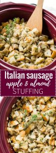 This easy Crockpot Italian Sausage Apple Stuffing with Brioche bread and almonds only takes 15 minutes to prep! A perfect Thanksgiving side dish!
