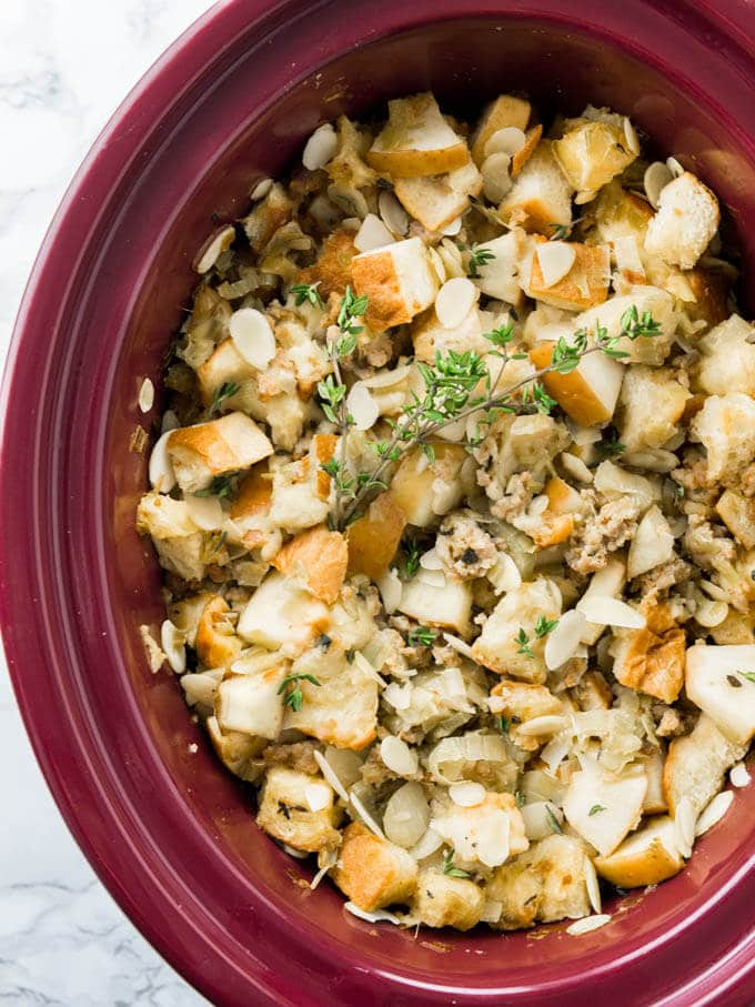 This easy Crockpot Italian Sausage Apple Stuffing with Brioche bread ...