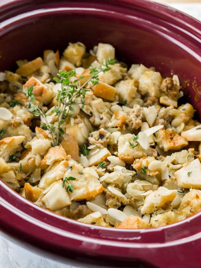 Crockpot Italian Sausage Apple Stuffing | Plated Cravings